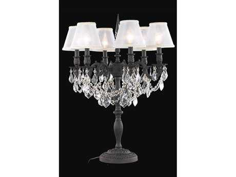 Elegant Lighting Rosalia Royal Cut Dark Bronze & Crystal Six-Light Table Lamp