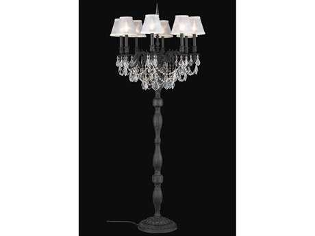 Elegant Lighting Rosalia Royal Cut Dark Bronze & Crystal Eight-Light Floor Lamp
