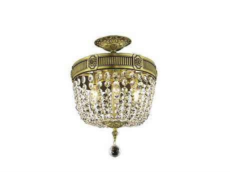 Elegant Lighting Esperanza Royal Cut Antique Bronze & Crystal Three-Light 12'' Wide Semi-Flush Mount Light