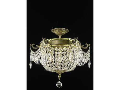 Elegant Lighting Esperanza Royal Cut Antique Bronze & Crystal Three-Light 18'' Wide Semi-Flush Mount Light