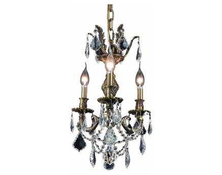 Elegant Lighting Marseille Royal Cut Antique Bronze & Crystal Three-Light 13'' Wide Mini Chandelier