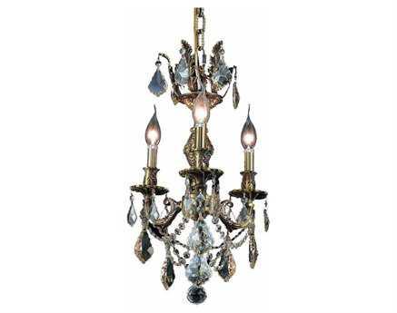 Elegant Lighting Marseille Royal Cut Antique Bronze & Golden Shadow Three-Light 13'' Wide Mini Chandelier