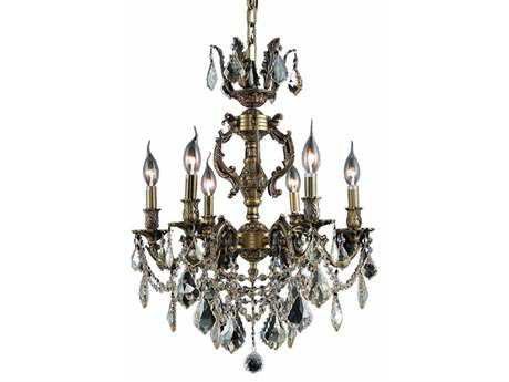 Elegant Lighting Marseille Royal Cut Antique Bronze & Crystal Six-Light 20'' Wide Mini Chandelier