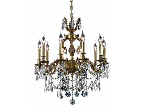 Elegant Lighting Marseille Royal Cut French Gold & Crystal Ten-Light 28'' Wide Chandelier