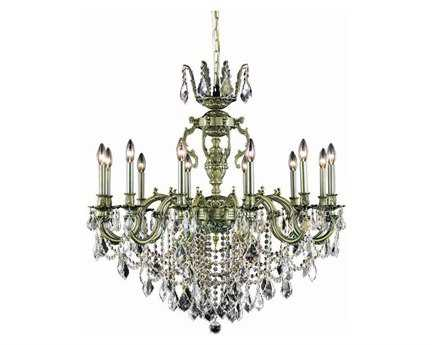 Elegant Lighting Marseille Royal Cut Antique Bronze & Crystal 12-Light 36'' Wide Grand Chandelier