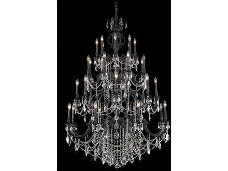 Elegant Lighting Marseille Royal Cut Dark Bronze & Crystal 32-Light 48'' Wide Grand Chandelier