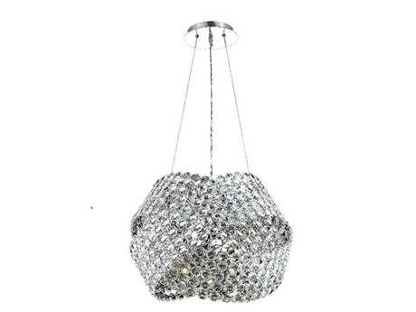 Elegant Lighting Electron Elegant Cut Chrome & Crystal 12-Light 24'' Wide Pendant