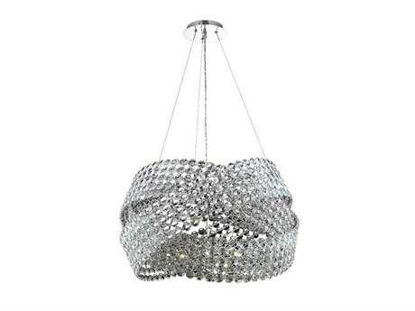 Elegant Lighting Electron Elegant Cut Chrome & Crystal 16-Light 28'' Wide Pendant