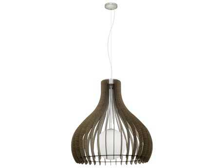 Eglo Tindori Dark Brown Wood 16'' Wide Pendant Light