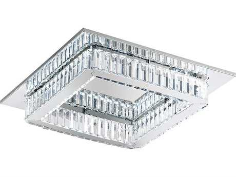 Eglo Corliano Chrome Eight-Light 20'' Wide LED Flush Mount Light