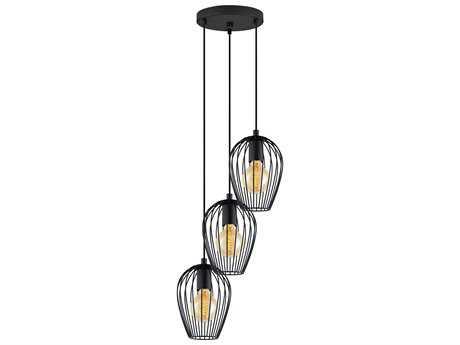 Eglo Newtown Matte Black Three-Light 16'' Wide Pendant Light