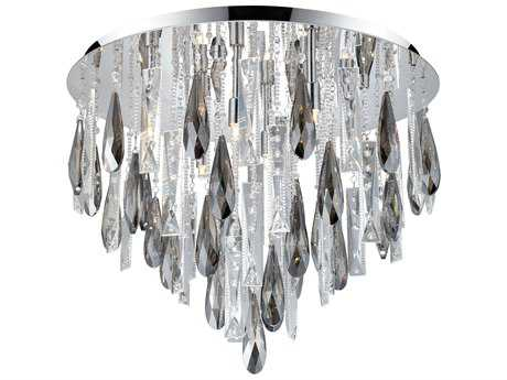 Eglo Calaonda Chrome Eight-Light 22'' Wide Flush Mount Light