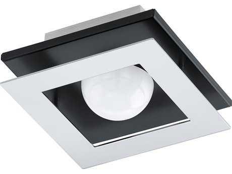 Eglo Bellamonte Brushed Aluminum & Black 6'' Wide LED Semi-Flush Mount Light
