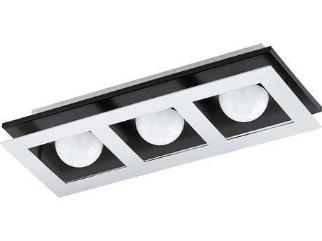Eglo Bellamonte Brushed Aluminum & Black Three-Light 15'' Wide LED Semi-Flush Mount Light