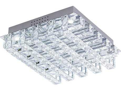 Eglo Lonzaso Chrome Eight-Light 12'' Wide LED Semi-Flush Mount Light