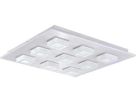 Eglo Masiano Brushed Aluminum Nine-Light 19'' Wide LED Semi-Flush Mount Light