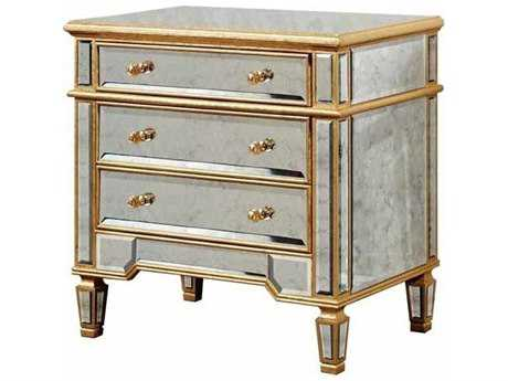 Elegant Lighting Florentine Gold & Antique Mirror Three Drawer Nightstand