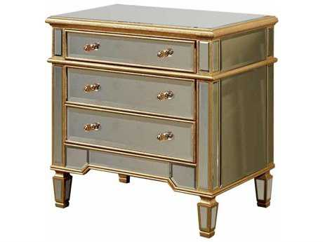 Elegant Lighting Florentine Gold & Clear Mirror Three Drawer Nightstand