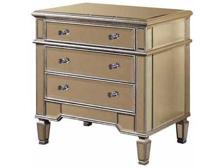 Elegant Lighting Florentine Silver & Clear Mirror Three Drawer Nightstand
