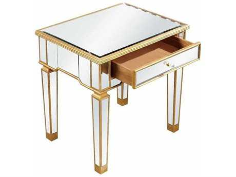 Elegant Lighting Florentine Gold & Clear Mirror 26''L x 20''W Rectangular Lamp End Table