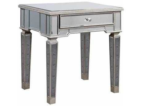 Elegant Lighting Florentine Silver & Clear Mirror 26''L x 20''W Rectangular Lamp End Table