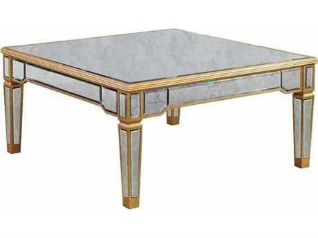 Elegant Lighting Florentine Gold & Antique Mirror 38'' Square Coffee Table