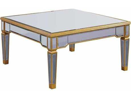 Elegant Lighting Florentine Gold & Clear Mirror 38'' Square Coffee Table