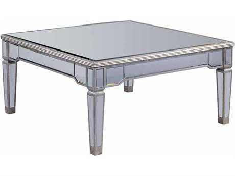 Elegant Lighting Florentine Silver & Clear Mirror 38'' Square Coffee Table