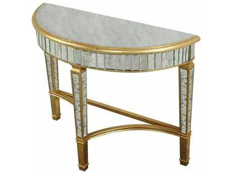 Elegant Lighting Florentine Gold & Antique Mirror 42 x 16 Demilune Console Table