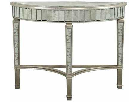 Elegant Lighting Florentine Silver & Antique Mirror 42''L x 16''W Demilune Console Table
