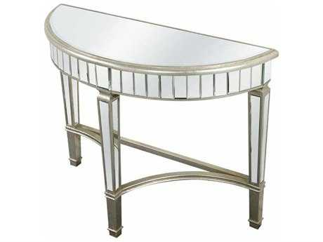 Elegant Lighting Florentine Silver & Clear Mirror 42''L x 16''W Demilune Console Table