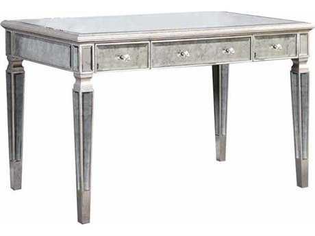 Elegant Lighting Florentine Silver & Antique Mirror 48''L x 28''W Three Drawer Secretary Desk