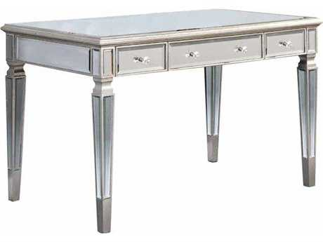 Elegant Lighting Florentine Silver & Clear Mirror 48''L x 28''W Three Drawer Secretary Desk
