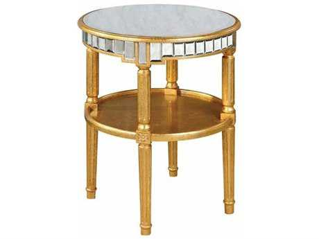 Elegant Lighting Florentine Gold & Antique Mirror 23'' Dia Round End Table
