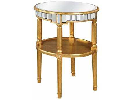 Elegant Lighting Florentine Gold & Clear Mirror 23'' Dia Round End Table