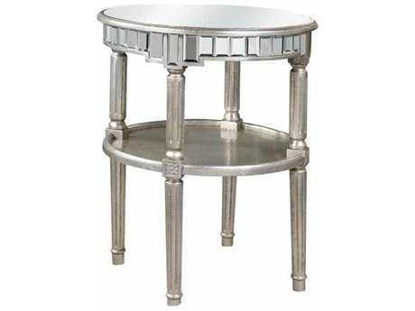 Elegant Lighting Florentine Silver & Clear Mirror 23'' Dia Round End Table