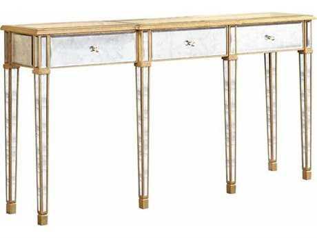 Elegant Lighting Florentine Gold & Antique Mirror 70''L x 15''W Rectangular Three Drawer Console Table