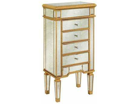 Elegant Lighting Florentine Gold & Antique Mirror Four Drawer Jewelry Armoire