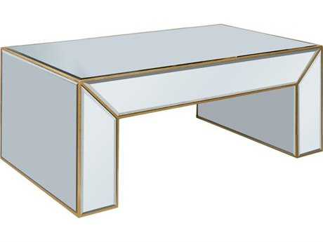 Elegant Lighting Manhattan Gold & Clear Mirror 50''L x 28''W Rectangular Coffee Table