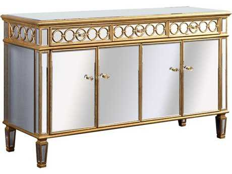Elegant Lighting Audrey Gold & Clear Mirror 60''L x 20''W Four Door Cabinet Buffet