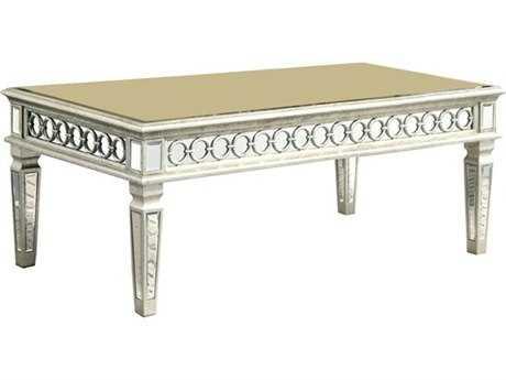 Elegant Lighting Audrey Silver & Clear Mirror 52''L x 28''W Rectangular Coffee Table