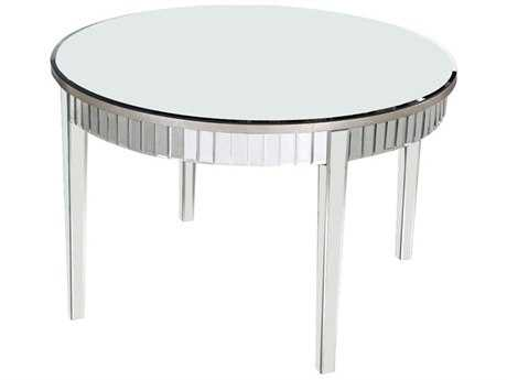 Elegant Lighting Mirage Silver & Clear Mirror 48'' Dia Round Dining Table