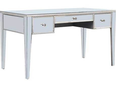 Elegant Lighting Mirage Silver & Clear Mirror 54''L x 27''W Three Drawer Secretary Desk