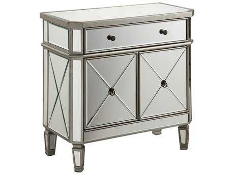 Elegant Ligting Silver & Clear Mirror One-Drawer & Two-Door Cabinet Nightstand
