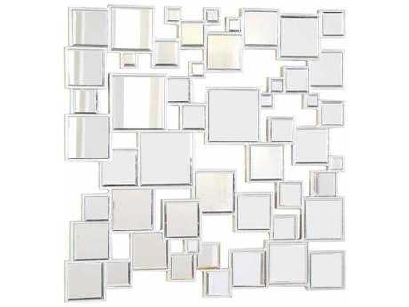 Elegant Lighting Modern 39.5'' Square Silver & Clear Wall Mirror