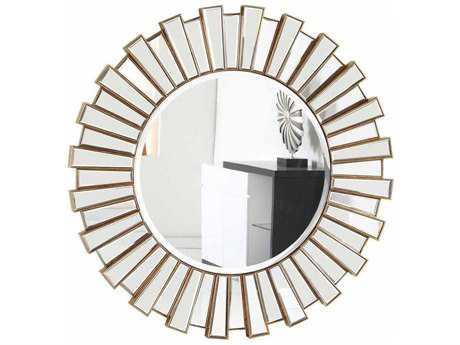 Elegant Lighting Modern 51'' Round Gold & Clear Wall Mirror