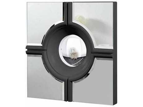 Elegant Lighting Modern 24'' Square Black & Clear Wall Mirror