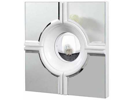 Elegant Lighting Modern 24'' Square White & Clear Wall Mirror