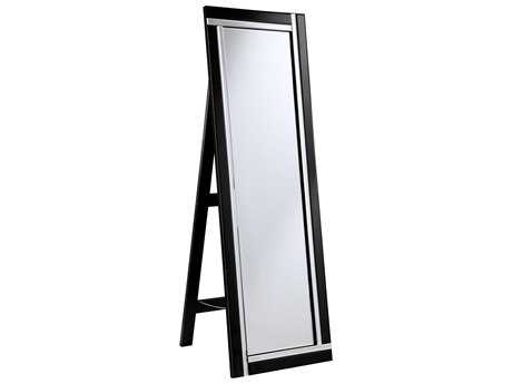 Elegant Lighting Modern 18''W x 59''H Black & Clear Floor Mirror