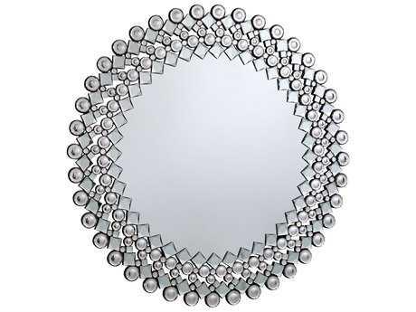 Elegant Lighting Modern 39.5'' Round Clear Crystal Wall Mirror